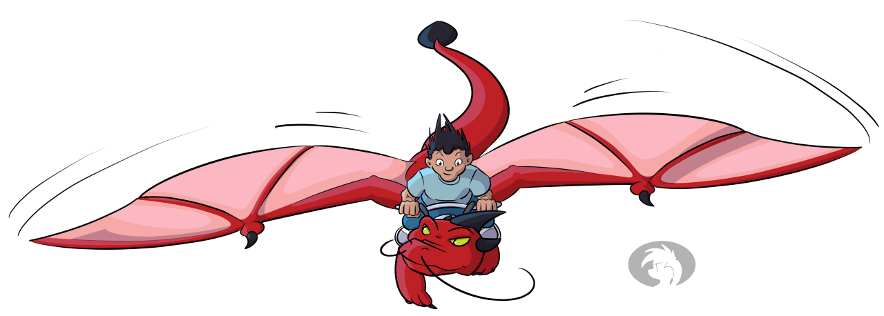 Red dragon and rider. Digital illustration.